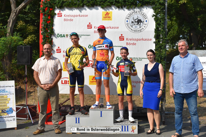Siegerehrung U17 männlich, Peter belegte Platz 3