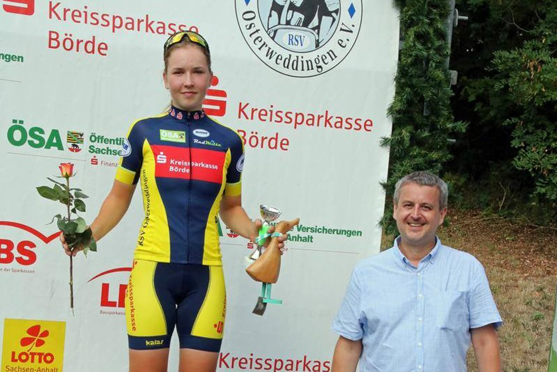 Siegerehrung U19 weiblich, Anna belegte Platz 1